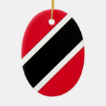 Trinidad and Tobago Double-Sided Oval Ceramic Christmas Ornament