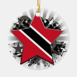 Trinidad and Tobago Star Double-Sided Ceramic Round Christmas Ornament