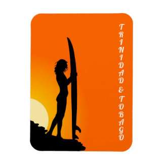 Trinidad and Tobago Surfer Girl Rectangular Photo Magnet