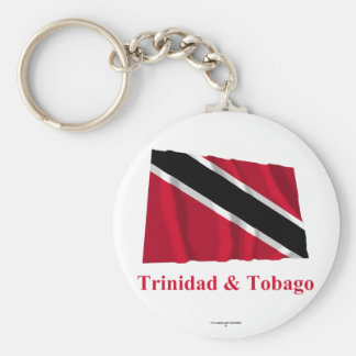 Trinidad and Tobago Waving Flag with Name Basic Round Button Keychain