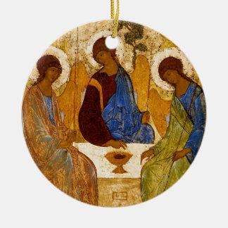 Trinidad con las alas del ángel adorno navideño redondo de cerámica