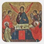 Trinidad con los santos pegatina cuadrada