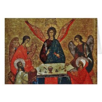 Trinidad con los santos felicitación