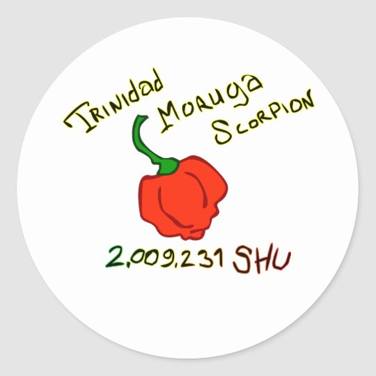Trinidad Moruga Scorpion Chili w text Classic Round Sticker