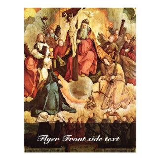 """Trinidad santa con ángeles, los santos, y su funda folleto 8.5"""" x 11"""""""