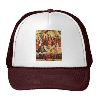 Trinidad santa con ángeles, los santos, y su funda gorras
