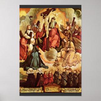 Trinidad santa con ángeles, los santos, y su funda póster