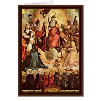 Trinidad santa con ángeles, los santos, y su funda tarjeta de felicitación