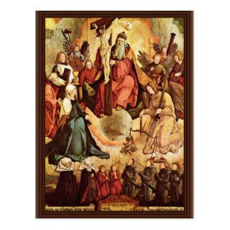 Trinidad santa con ángeles, los santos, y su funda postal