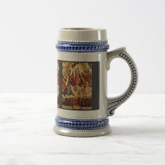 Trinidad santa con ángeles, los santos, y su funda jarra de cerveza