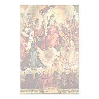Trinidad santa con ángeles, los santos, y su papelería de diseño