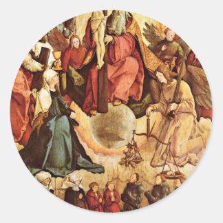 Trinidad santa con ángeles, los santos, y su pegatina redonda