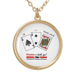 Trinidad & Tobago All Fours Game Gold Plated Necklace