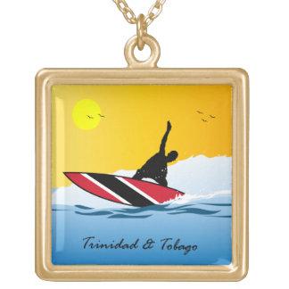 Trinidad & Tobago Beach Surfer Gold Plated Necklace