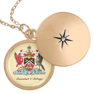 Trinidad & Tobago Coat Of Arms Gold Plated Necklace