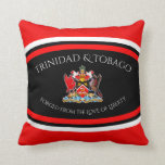 Trinidad & Tobago Coat of Arms Red Dot Pattern Throw Pillow