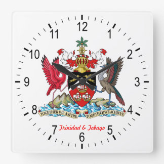 Trinidad & Tobago Coat Of Arms Square Wall Clock
