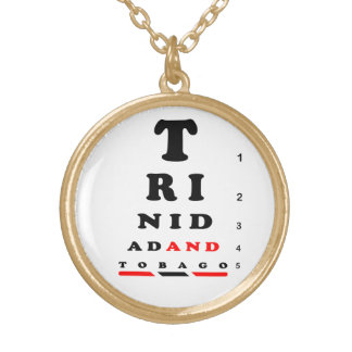 Trinidad & Tobago Eye-Chart Gold Plated Necklace