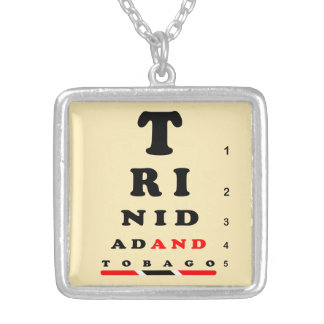 Trinidad & Tobago Eye-Chart Silver Plated Necklace
