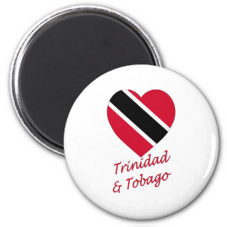 Trinidad & Tobago Flag Heart 2 Inch Round Magnet