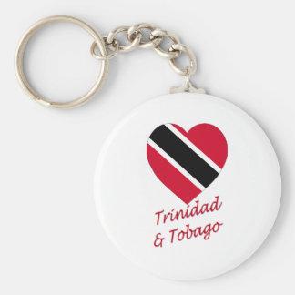 Trinidad & Tobago Flag Heart Basic Round Button Keychain
