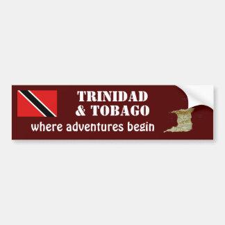 Trinidad & Tobago Flag + Map Bumper Sticker