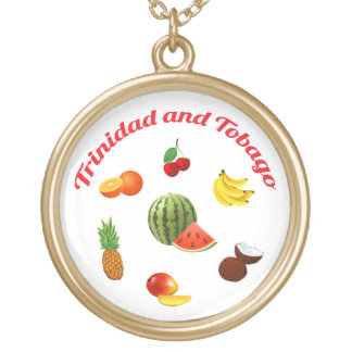 Trinidad & Tobago Fruits And Vegetables Gold Plated Necklace