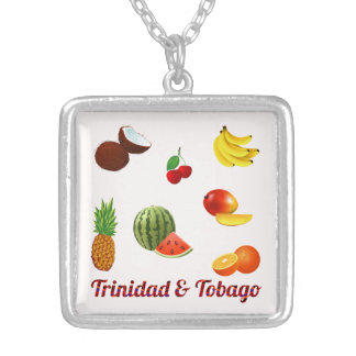 Trinidad & Tobago Fruits And Vegetables Silver Plated Necklace