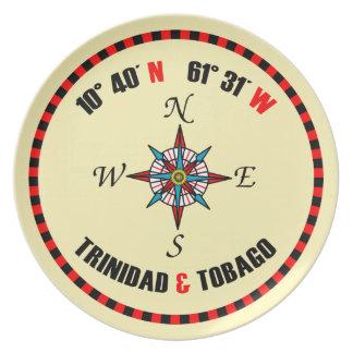 Trinidad & Tobago Latitude & Longitude Plate