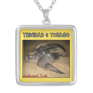 Trinidad & Tobago Leather Back Turtle Silver Plated Necklace