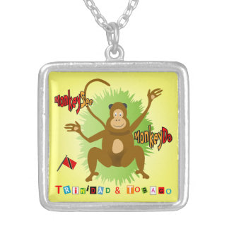 Trinidad & Tobago Monkey See Monkey Do Silver Plated Necklace