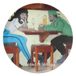 Trinidad & Tobago Rum Shop Mural Dinner Plate