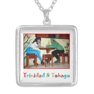 Trinidad & Tobago Rum Shop Mural Silver Plated Necklace