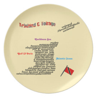 Trinidad & Tobago Towns And Villages Map Melamine Plate