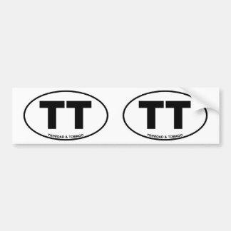 Trinidad Tobago TT Oval ID Identification Initials Bumper Sticker