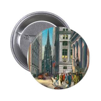Trinidad vieja y Wall Street, Nueva York Pin Redondo De 2 Pulgadas