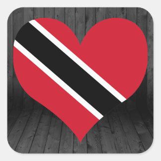Trinidad+y+Bandera de Trinidad y Tobago coloreada Pegatina Cuadrada