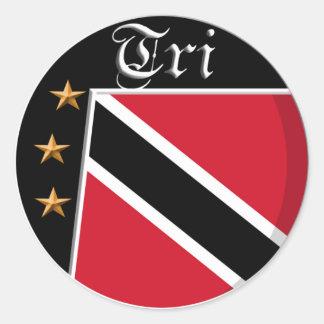 Trinidadian flag design classic round sticker
