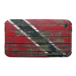 Trinidadian Flag on Rough Wood Boards Effect iPhone 3 Case