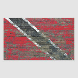 Trinidadian Flag on Rough Wood Boards Effect Rectangular Sticker