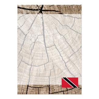 Trinidadian flag on tree bark card