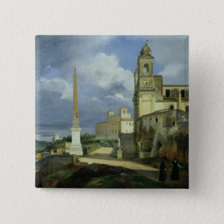Trinita dei Monti and the Villa Medici Pinback Button