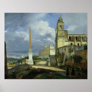 Trinita dei Monti and the Villa Medici Poster