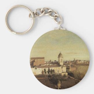 Trinita dei Monti from the Villa Medici by Camille Basic Round Button Keychain