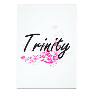 Trinity Artistic Name Design with Flowers 3.5x5 Paper Invitation Card