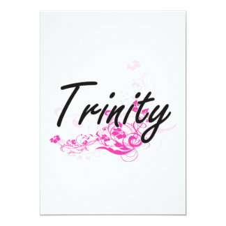 Trinity Artistic Name Design with Flowers 5x7 Paper Invitation Card