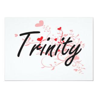 Trinity Artistic Name Design with Hearts 5x7 Paper Invitation Card