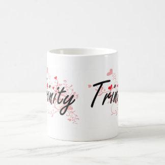 Trinity Artistic Name Design with Hearts Classic White Coffee Mug