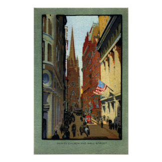 Trinity Church and Wall Street Poster