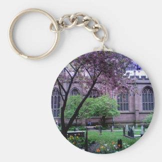 Trinity Church, Broadway, NYC April 2011 Basic Round Button Keychain